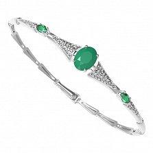 Серебряный браслет Диадора с зеленым агатом, зеленым кварцем и фианитами
