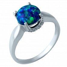 Серебряное кольцо Адажио с синим опалом и фианитами
