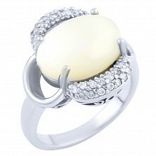 Серебряное кольцо Шарлиз с перламутром и фианитами