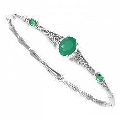 Серебряный браслет Диадора с зеленым агатом, зеленым кварцем и фианитами 000063763