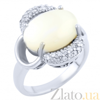 Серебряное кольцо Шарлиз с перламутром и фианитами 000078163