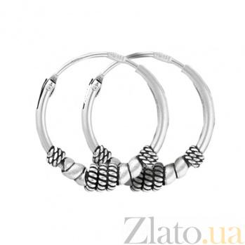 Серебряные серьги-кольца Винтаж SLX--С5/319