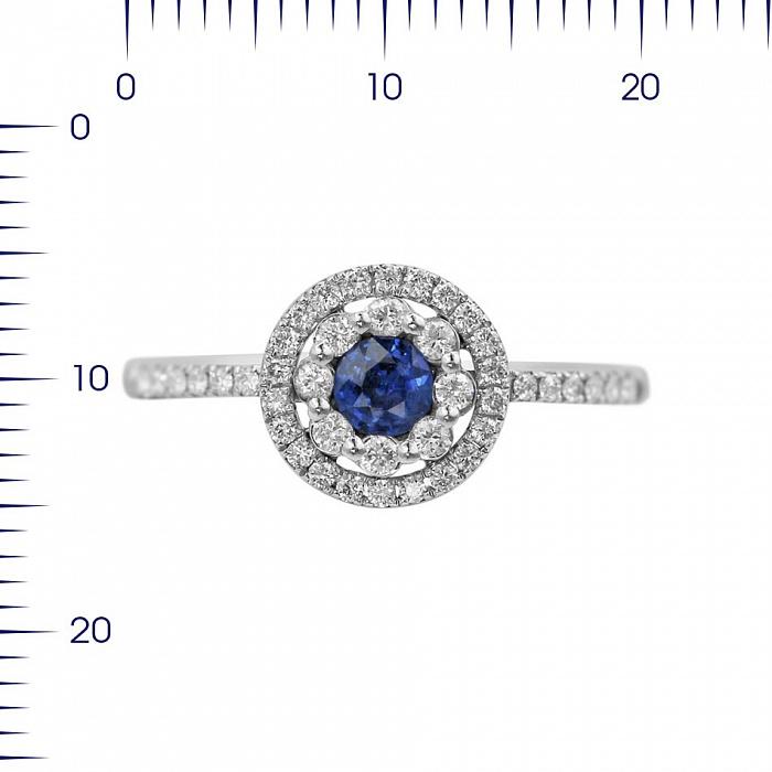 Кольцо из белого золота Пэтси с сапфиром и бриллиантами 000080938