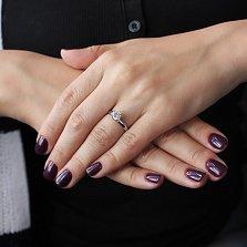 Золотое кольцо Кэтлин в белом цвете с белым фианитом в стиле Дамиани