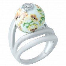 Серебряное кольцо Пиония с цветной эмалью