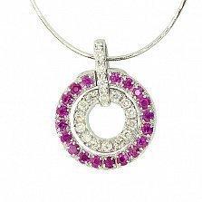 Серебряная подвеска с рубинами и бриллиантами Кальяри