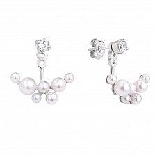 Серебряные серьги-джекеты Пупырышки с белыми жемчугом и фианитами