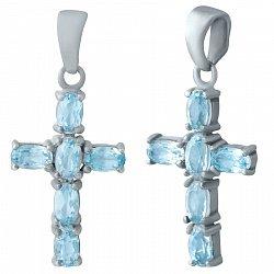 Серебряный декоративный крестик Мечта с голубым топазом