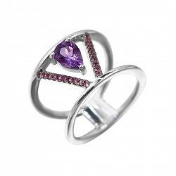 Серебряное кольцо Виктори с аметистом и фиолетовыми фианитами