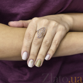 Золотое кольцо Аврели в комбинированном цвете с узорами 000097028