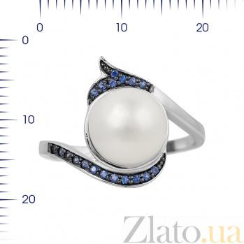Серебряное кольцо Даниэла с жемчугом и синими фианитами 000081603