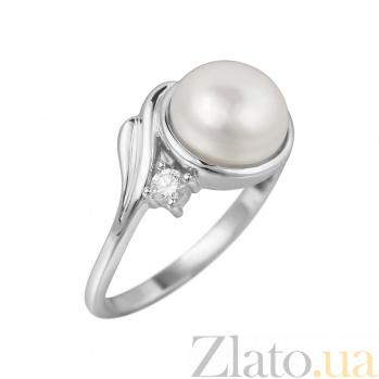 Серебряное кольцо Варвара с жемчугом и цирконием 000081606
