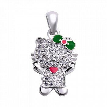 Серебряный кулон Китти с фианитами, красной и зеленой эмалью 000106938