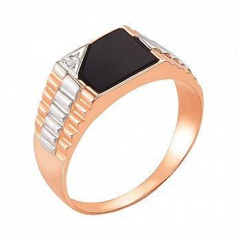 Золотой перстень-печатка в комбинированном цвете с черным ониксом и цирконием 000117633