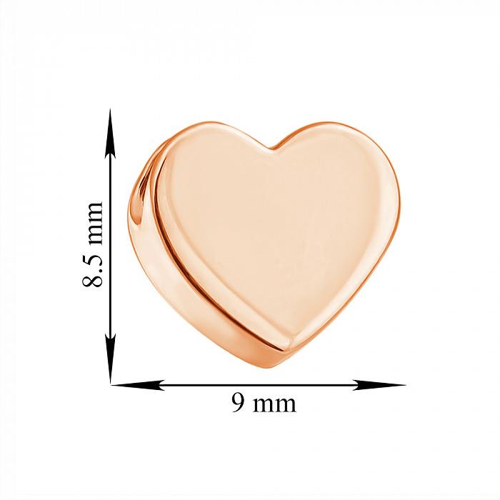 Односторонний кулон-сердце из красного золота Счастливый миг, глянец 000023363
