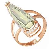 Золотое кольцо Галадриэль с лимонным кварцем и фианитами