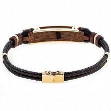 Кожаный браслет Алистер с золотом, эбеновым деревом и бриллиантом