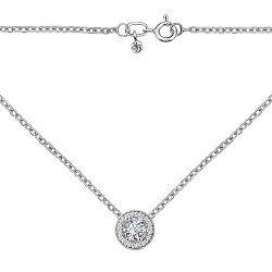 Золотое колье Серафима в белом цвете с бриллиантами