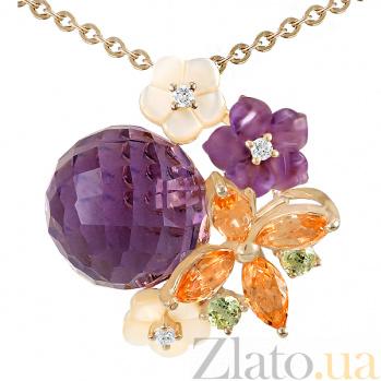 Золотой кулон с аметистами, топазами, хризолитами, перламутром и бриллиантами Нежное соцветие 000037943