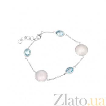 Серебряный браслет Джакарта с топазами и нежно-розовым халцедоном 000082016