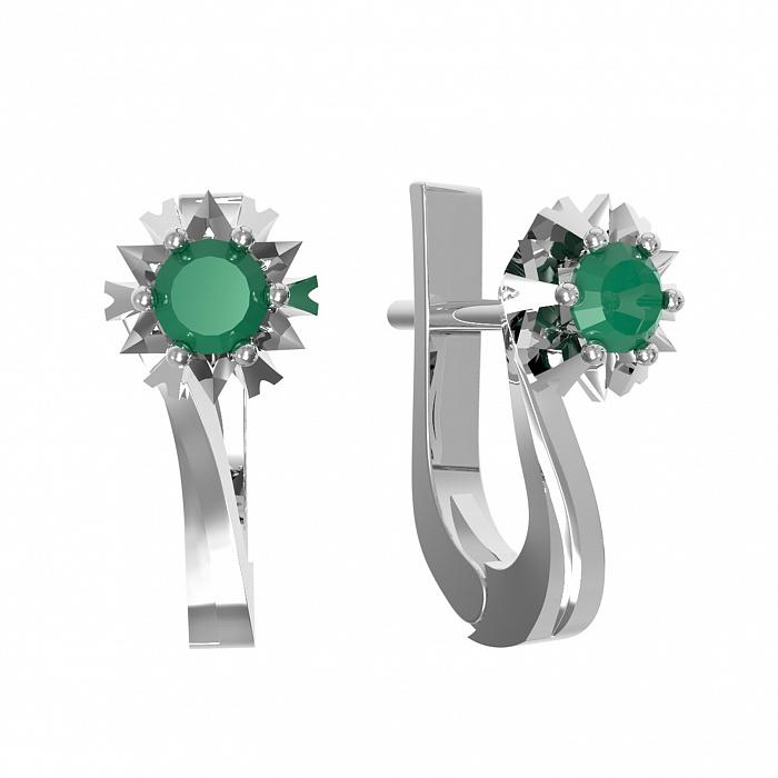 Серебряные серьги Наоми с зеленым агатом 000079754