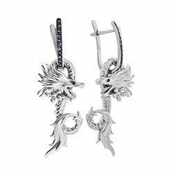Серебряные серьги-трансформеры Царство дракона с фианитами