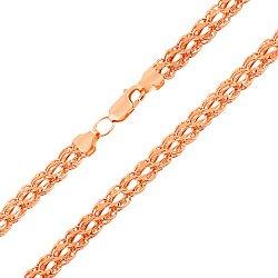 Золотая цепочка Британия в красном цвете плетения бисмарк с алмазной гранью