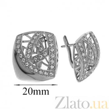 Серебряные серьги с цирконием Адриана TNG--420647С