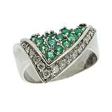 Серебряное кольцо с бриллиантами и изумрудами Косынка