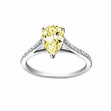 Золотое кольцо с цитрином и бриллиантами Незнакомка