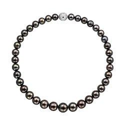 Ожерелье из черного жемчуга с золотым замком в бриллиантах 000136742