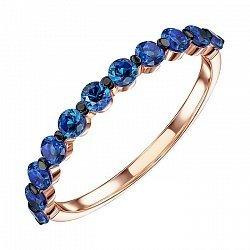 Кольцо из красного золота с синими фианитами и родированием 000137813