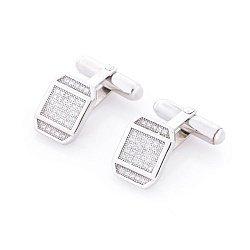 Серебряные запонки Встреча с фианитами