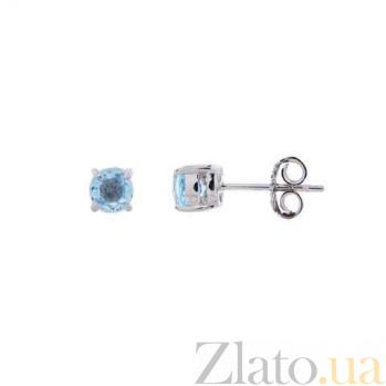 Серьги пусеты из серебра с голубым топазом Нинель AQA--E00649T