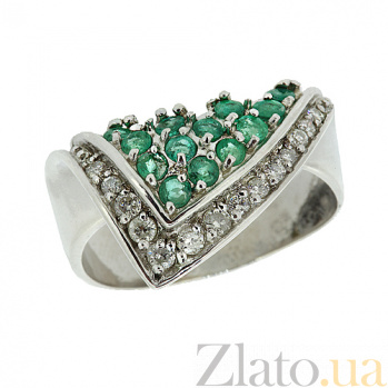 Серебряное кольцо с бриллиантами и изумрудами Косынка ZMX--RDE-6005-Ag_K