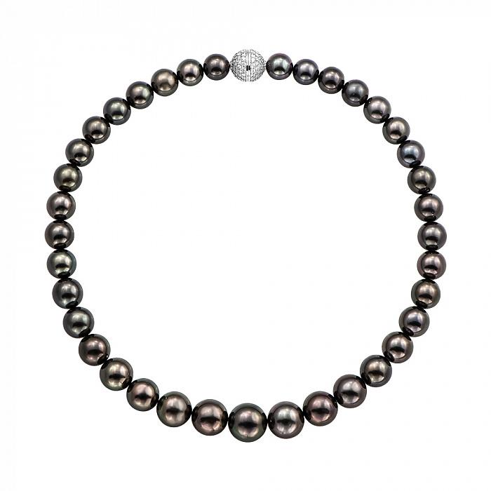 Ожерелье из черного жемчуга с золотым замком в бриллиантах 000136742 000136742