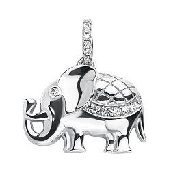Серебряная подвеска Слон с кристаллами циркония