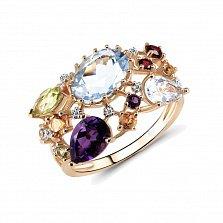 Кольцо из красного золота Беверли с голубым топазом, цитрином и бриллиантами