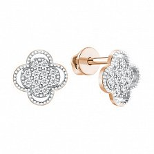 Позолоченные серебряные серьги-пуссеты Сюзанна с фианитами