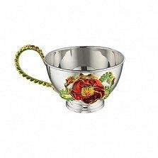 Серебряная чашка Маки с эмалью, 150мл