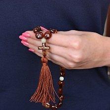Янтарные чётки Молитва из 33 бусин с кисточкой и бусиной в форме креста