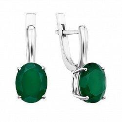 Серебряные серьги с зелеными агатами 000135067