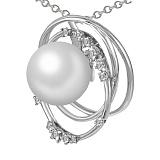 Кулон из белого золота Лея с бриллиантами и жемчугом