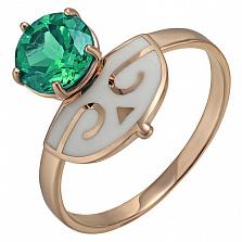 Золотое кольцо Нефертити с зеленым кварцем и эмалью