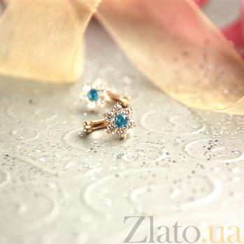 Золотые серьги Орхидея с голубым и белым цирконием SUF--110154г