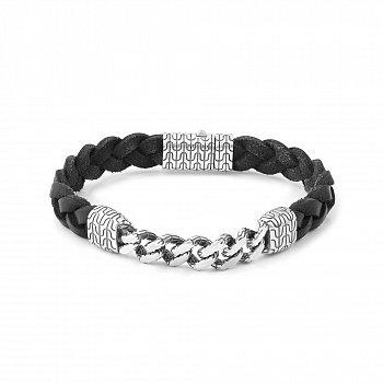 Кожаный браслет в чёрном цвете с серебром 000123862