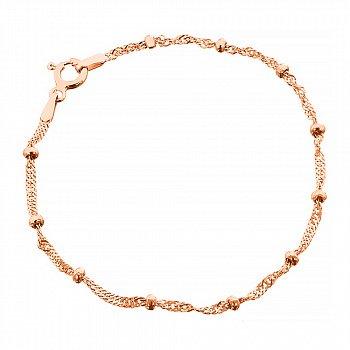 Серебряный браслет в плетении сингапур с бусинами и позолотой 000102765