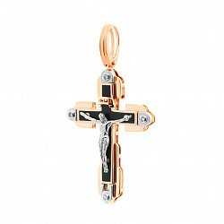 Крестик в красном золоте с эмалью и фианитами 000052779