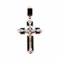 Золотой крестик Царь Славы с фианитами и эмалью