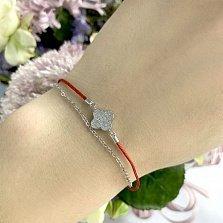 Двухслойный серебряный браслет Клевер с шелковой нитью и фианитами